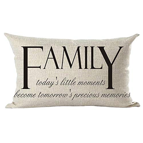 ramirar Word Art Family Today's Little Moments Become Tomorrow's Precious Memories Decorative Lumbar Throw Pillow Cover Case Cushion Home Living Room Bed Sofa Car Cotton Linen Rectangular 12 x 20 Inch