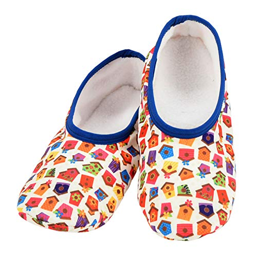 Snoozies Skinnies Lightweight Slippers | Cozy Slippers for Women | Travel Flats On The Go | Womens Slippers | Bird House | Large