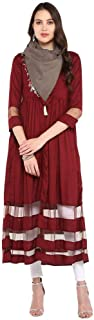 Haute Curry by Shoppers Stop Womens Round Neck Embroidered Kurta And Dupatta Set