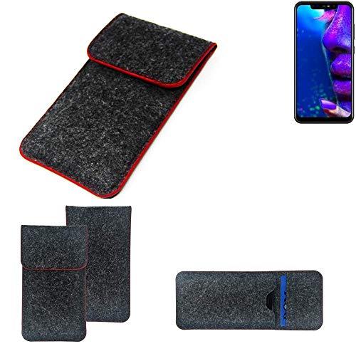 K-S-Trade Handy Schutz Hülle Für Allview Soul X5 Pro Schutzhülle Handyhülle Filztasche Pouch Tasche Hülle Sleeve Filzhülle Dunkelgrau Roter Rand