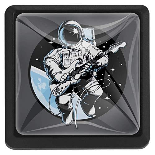 TIZORAX Schubladenknöpfe Astronaut spielt Gitarre Küche Schrankgriff Ziehgriffe Quadratisch 3 Packungen für Schrankschrank Kommode Tür Home Decor