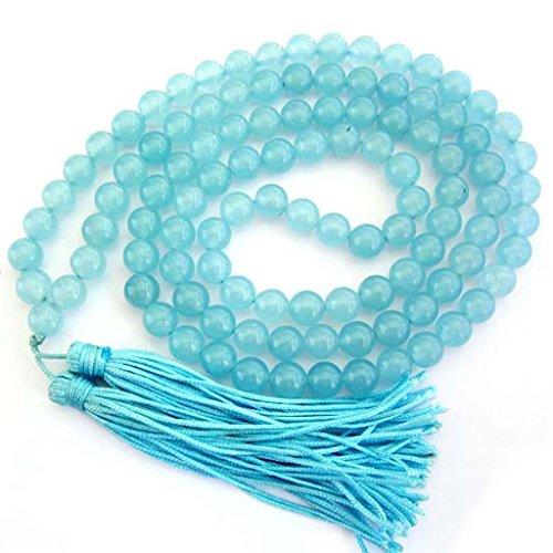 OVALBUY 8mm 108 Blue Stone Beads Tibetan Buddhist Prayer Meditation Mala Necklace