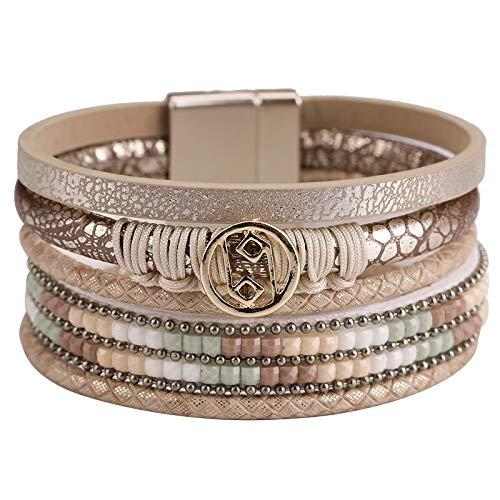 HMANE Pulseras de Cuero para Mujer, dijes de aleación de Cristal con Diamantes de imitación, Pulseras y brazaletes Anchos Multicapa para Mujer, joyería Femenina