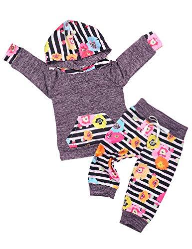 Ttkgyoe Baby Mädchen Outfits Langarm Floral Hoodie Tops Sweatshirt mit Känguru Tasche Hosen Infant Kleidung Set