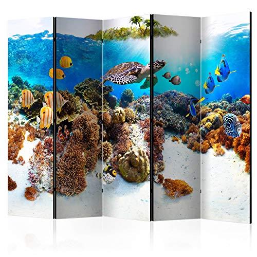 decomonkey Paravent Raumteiler XXL Einseitig Korallenriff 225x172 cm 5 TLG. Trennwand Vlies Leinwand Raumtrenner Sichtschutz spanische Wand Blickdicht Textile Haptik Meer Fisch für Kinder