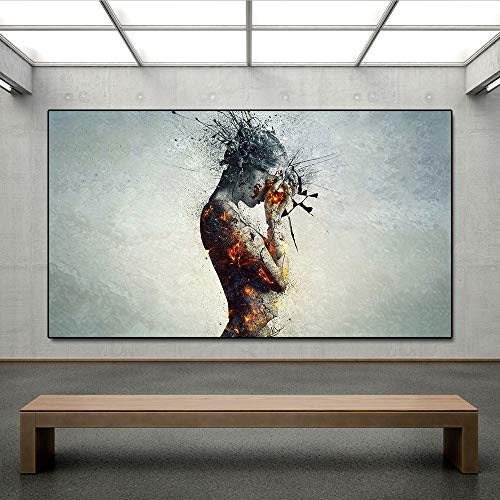 N / A Rahmenlose Malerei Menschlicher Körper Explosion Kopfschmerzen Feuer Wandkunst Leinwand Poster Wohnzimmer Wandmalerei DekorationZGQ7514 30x52cm