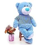 Toys Studio 36 inch Blue Big Teddy Bear Cute Giant Stuffed Animals with Striped T-Shirt Plush Toy for Girlfriend Kids