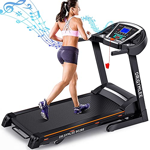 DR.GYMLEE Folding Treadmill for Home with 15% Automatic Incline,300LBS Weight Capacity,Easy Assembly,Use with LCD Screen/Heart Rate Monitor/Phone Cup Holder