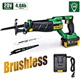 Brushless Reciprocating Saw, POPOMAN 20V 4.0Ah Cordless Saw with LED, 1-1/8' Stroke Length, 0-2500 SPM, 4.0Ah Battery, Fast Charger, 2 Blades for Wood and Metal Cutting - MTW200B