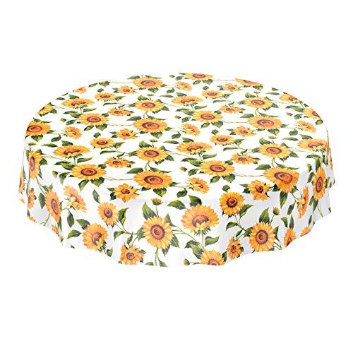 ANRO Wachstuchtischdecke - Abwaschbare Wachstischdecke mit Muster Sonnenblumen Rund 160cm