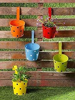 Black Dotted Metal Mug   Flower/Plants Mug for Hanging, Railing & Balcony Plants Garden   Home Decor (Pack of 9) Multicolo...