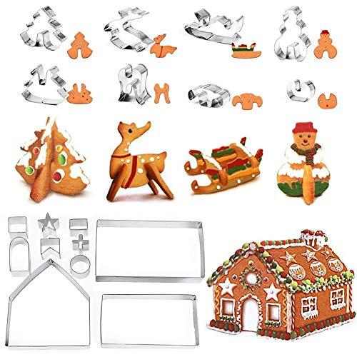 JAHEMU Molde Galletas, Cookie Cutter Christmas 3D Acero Inoxidable Moldes de Galletas par Navidad Cortadores Galletas, Fondant, Accesorios de Repostería (18 Piezas)