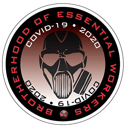 Essential Worker Hardhat Sticker Decal 10 Pack of 2' Red Gas Mask Quarantine Decals