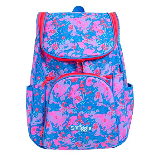 Smiggle Good Vibes Access School Backpack for Girls & Boys with Laptop Compartment and Dual Drink Bottle Sleeves   Graffiti Print