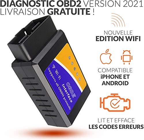 OBD2 France Boitier Diagnostic - LIT ET EFFACE Les Codes ERREURS +1 Cadeau ! Tous VÉHICULES - WiFi Android IPHONE - Vendeur Francais avec Support 7/7J