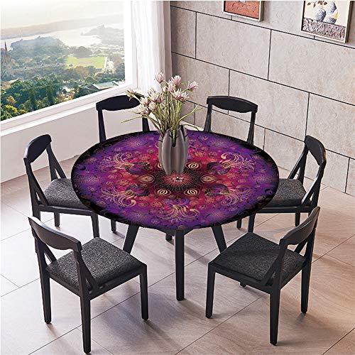 Mantel Antimanchas Redondo, Chickwin Patrón de Mandala Retro Mantel de Mesa Impermeable Diseño de Borde Elástico, Mantel Redondo para Comedor, Cocina y Picnic (Flor Purpura,90cm)