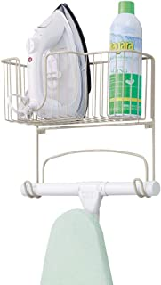 mDesign Metal Wall Mount Ironing Board Holder with Large Storage Basket - Holds Iron, Board, Spray Bottles, Starch, Fabric Refresher for Laundry Rooms - Satin