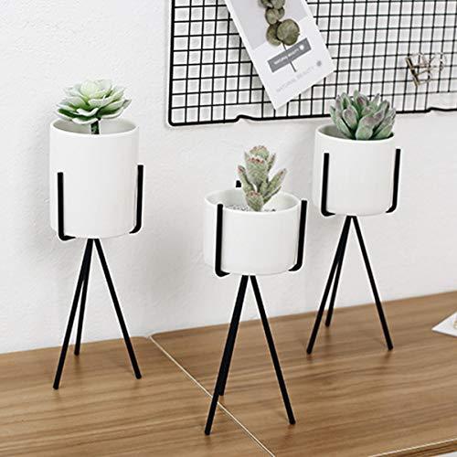 MASUNN Witte Hoge Statief Plant IJzeren Stand +Keramische Bloem Succulente Pot Display Rack Houder Decor, 1, 1