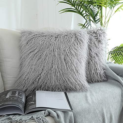 Kevin Funda de almohada decorativa de piel sintética para sofá