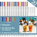 "Stainless Steel Straws,Set of 16 10.5"" FDA-Approved Reusable Drinking Straws,Metal Drinking Straws with 24 Soft Silicone Tips for 20&30oz Tumblers Cups Mugs with 4 Cleaning Brushes (16 straight)"
