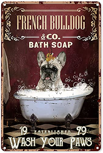 Bathroom Art Funny Red Bath Soap French Bulldog Wash Your Paws Tin Sign Decoration Vintage Chic Metal Poster Wall Decor Art Gift for Kids Farmhouse Shelves 12x8 inch