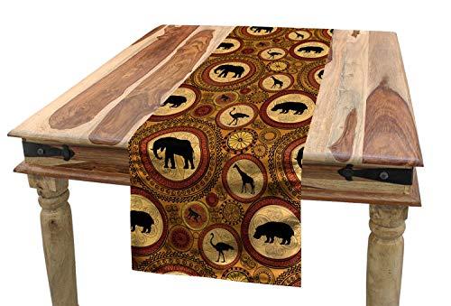 ABAKUHAUS Sambia Tischläufer, Afrikanische ethnische Tiere, Esszimmer Küche Rechteckiger Dekorativer Tischläufer, 40 x 180 cm, Zimt Ingwer Schwarz