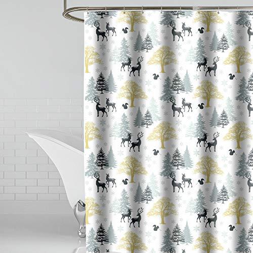 CXL Home wasserdicht gepolsterter Duschvorhang, Polyester Badvorhang Hirsch Muster Trennvorhang