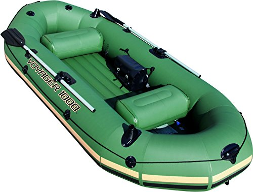Bestway HydroForce Voyager 1000 Inflatable Jon Boat | Raft Includes Oars, Cushioned Seats, &...