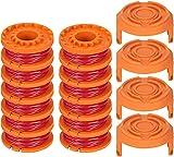TOCYORIC 12 Piezas de Hilo de Corte para Todas Las cortadoras de Hilo Worx de 20 V y 4 Piezas de Tapa de Carrete de la Recortadora, Tapa de Bobina de bordeadora, para Mejorar la Velocidad de Corte