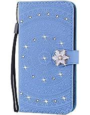 Molg Compatible con Funda Samsung Galaxy A71 4G Mandala Taladro De Punta En Relieve Cuero De La PU Funda Flip Wallet [Clip De Tarjeta] [Hebilla Magnética] Funda-Azul