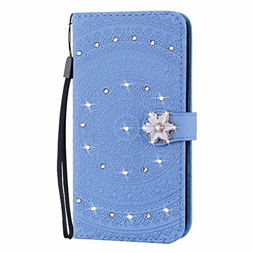 Molg Compatible con Funda Samsung Galaxy S10 Mandala Taladro De Punta En Relieve Cuero De La PU Funda Flip Wallet [Clip De Tarjeta] [Hebilla Magnética] Anti-Shock Funda Protectora-Azul