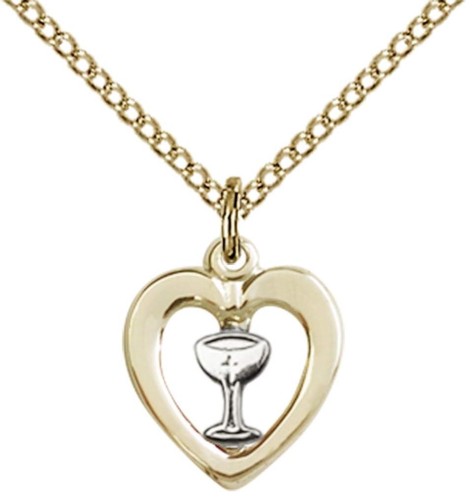 DiamondJewelryNY Two-Tone SS All stores are sold Max 62% OFF GF Heart Chalice Pendant