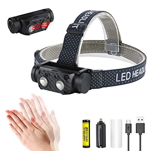 Superhelle LED Stirnlampe, Wiederaufladbare Stirnlampe mit Bewegungsmelder, 6 Modi, 1000 Lumen Wasserdichte Stirnlampe für Jagd, Camping, Angeln, Laufen und Höhlenforschung