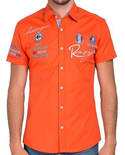 Redbridge Herren Hemd Kurzarm Freizeithemd Regular Fit Tailliert Bestickt R-Style R-2122 (S, Orange (Coral))