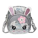 TEELONG 2020 - Mochila infantil con lentejuelas, diseño de orejas de conejo, color Plateado, talla Talla única