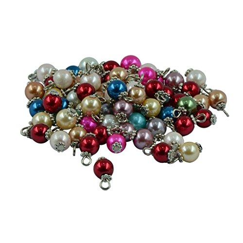 F Fityle 50 Piezas de Perlas de Cristal de Colores, Colgante Hecho a Mano, Collar Apto - Plata, Individual
