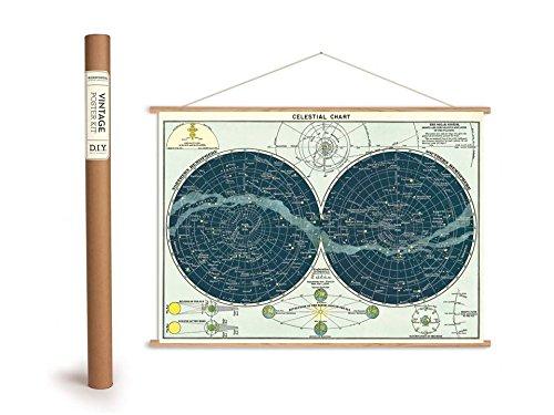 Cavallini Vintage Poster Set mit Holzleisten (Rahmen) und Schnur zum Aufhängen, Motiv Sternenkarte, Celestical Chart
