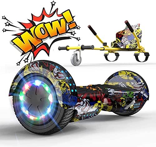 RCB Hoverkart Gyropode Hoverboard Kart pour Enfant et Adulte, Overboard Electrique Kart avec Bluetooth-Musique / LED-Roue Clignotante, E-Skateboards Cadeau pour Noël