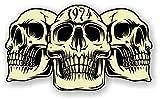 sticker licker Autocollant Vintage en Vinyle pour Voiture Motif 3 crânes Gothiques de l'année 1974 Café Racer Casque de Moto Motard Hotrod Style rétro 120 x 70 mm
