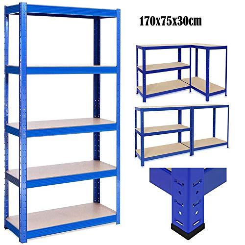 Lagerregal Steckregal Werkstattregal Kellerregal Regalsystem DIY Schwerlastregal 5 böden bis 875 kg Traglast 170x75cmx30cm, Blau