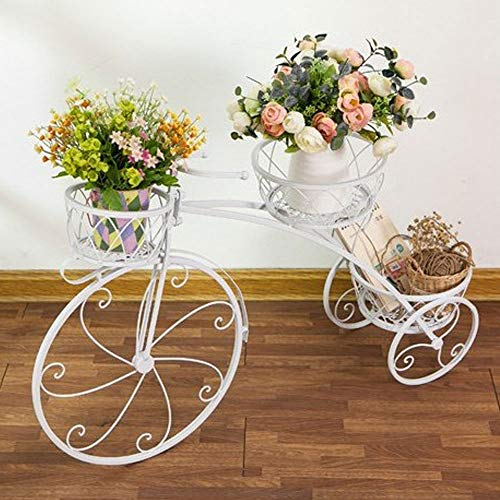 VSander Blumenständer Blumenständer Schmiedeeisen Blumenständer Bodenstehender Mehrschichtiger Topfständer Continental Wohnzimmer Balkon Regale Kreative Fahrradmodellierung (Color : White)