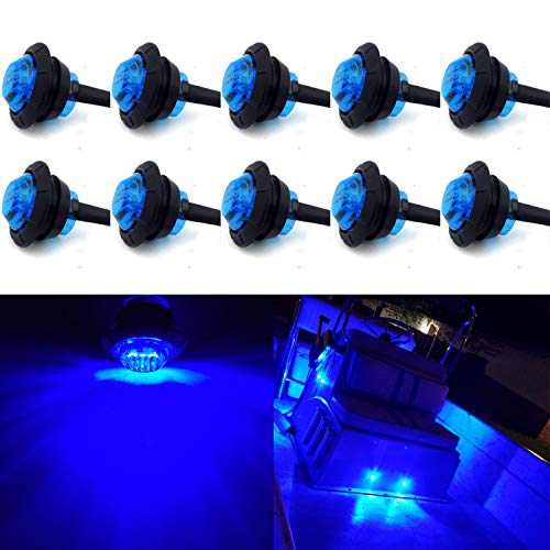 10 Pack Waterproof Marine Boat LED Lights, LED Underwater Lighting, Utility Led Interior Lights Navigation Lights Deck Courtesy Lights 12V for Yacht Boat Fishing Pontoon Sailboat Kayak (Blue)