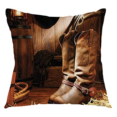 FULIYA Funda de cojín de estilo occidental con diseño de botas en habitación de madera clásica, folclórica, estilo antiguo, deportes salvajes, decorativos, cuadrados, 61 x 61 cm, color marrón