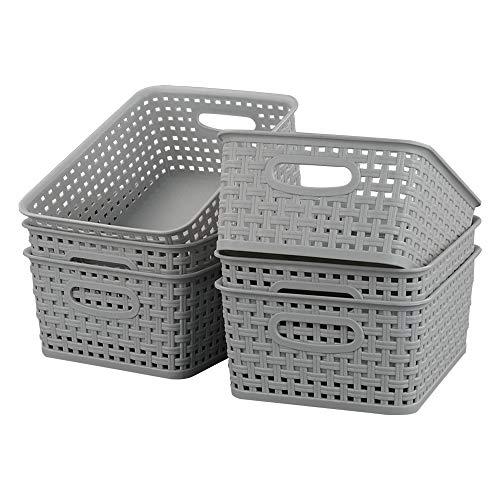 Kiddream - Juego de 6 cestas pequeñas de mimbre de plástico para armario (gris)