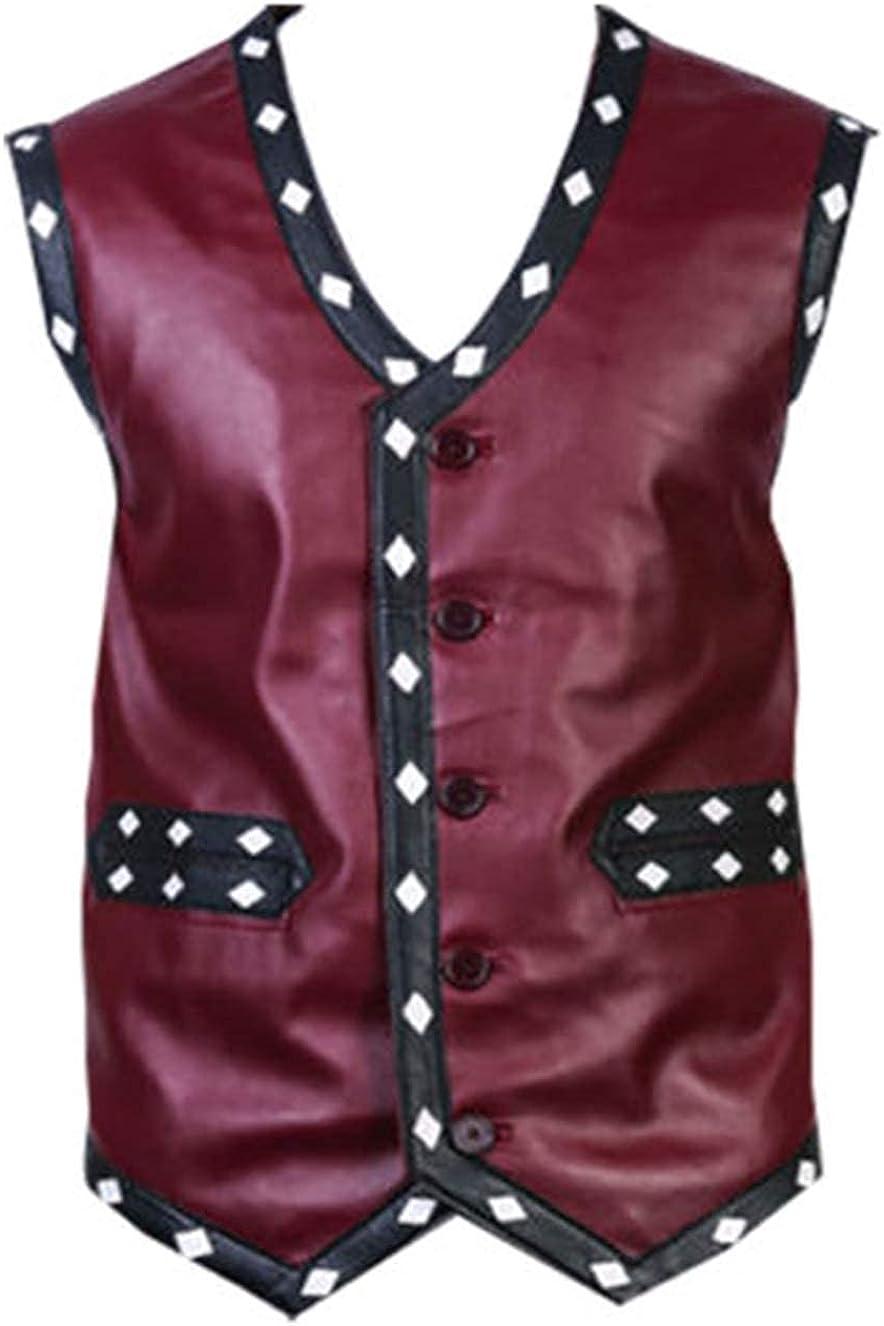 Mens Maroon White Diamond Biker Synthetic Leather Vest Jacket