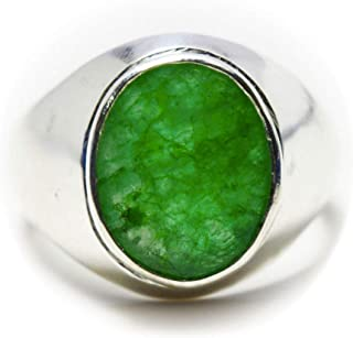 Genuine Emerald Silver Ring for Men 4 Carat Oval Chakra Healing Size 5,6,7,8,9,10,11,12,13