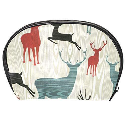 Bennigiry, borsa per cosmetici natalizia, con cervo, organizer da viaggio per donne, kit da viaggio con cerniera multifunzione