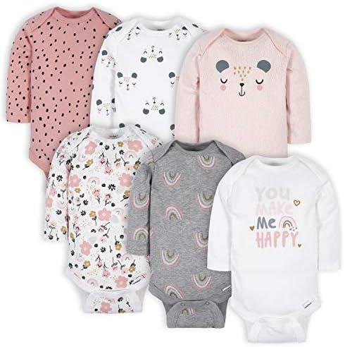 Gerber Baby Girls 6 Pack Long Sleeve Onesies Bodysuits Bear Pink Newborn product image