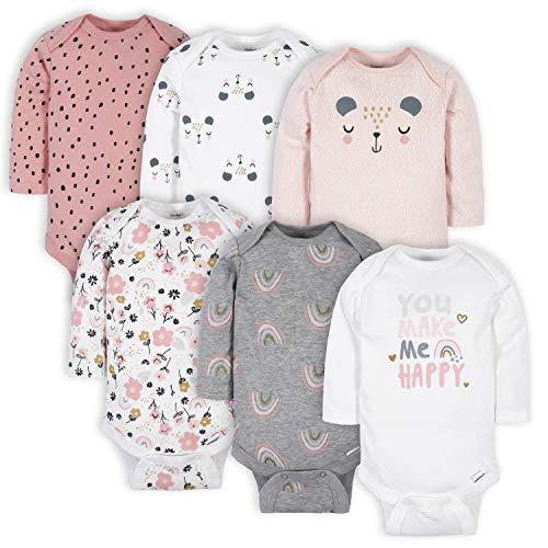 Gerber Baby Girls' 6-Pack Long-Sleeve Onesies Bodysuits, Bear Pink, 6-9 Months