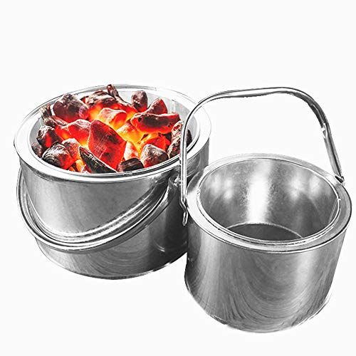 Fire Bowl with Grill Grate & Protective Grille Fire pit portable brazier camping stove for outdoor terraces and gardens
